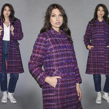 Vintage 60s BOUCLE WOOL COAT / Vibrant Purple, Pink, Burgundy Fuzzy Mod Coat / Bold Gumdrop Buttons / Unique Winter Coat / Knee Length / S M