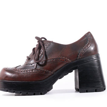 90s Vintage Brown Platform Shoes Chunky Vegan Leather Wing Tip Oxfords Lace Up Hipster Goth Women Size US 6.5 UK 4.5 EUR 37