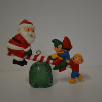 Avon, 1983, Santa and Elves, Gumdrop See Saw, Christmas Ornament.