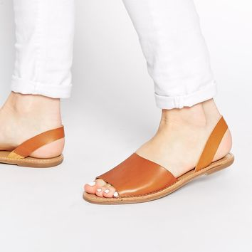 Pieces Exclusive Tan Leather Slingback Flat Sandals