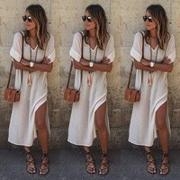 Maxi Dress Cotton Casual Dress