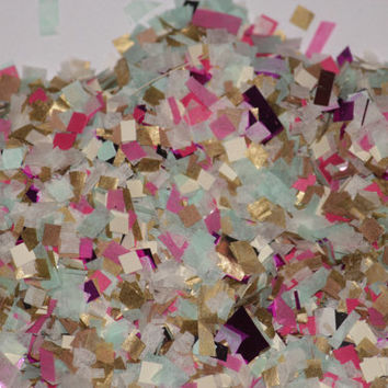 Confetti, mint, pink and gold, birthday party, wedding, bridal shower, party decorations, baby shower, push pop filler