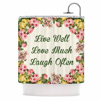 """NL Designs """"Live, Love, Laugh"""" Floral Typography Shower Curtain"""