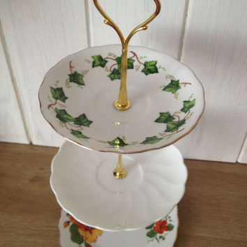 orange green floral three tiered vintage cake stand, perfect for afternoon tea parties and weddings. VBB185