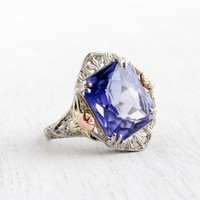Antique 14k White Gold Sapphire Ring - Size 6 1/2 Vintage Filigree Rose Yellow Gold Floral Accents Art Deco 1920s Fine Jewelry