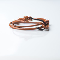 Men's Gunmetal Hook Leather Bracelet (Brown)