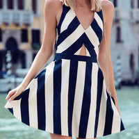 White and Blue Stripe V-Neckline Strappy Crisscross Back Mini Dress