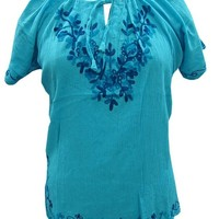 Blue Tunic Embroidered Cotton Crepe Top Large: Amazon.ca: Clothing & Accessories