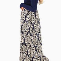 Navy Blue Damask Colorblock Long Sleeve Maternity Maxi Dress