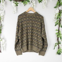 Vintage Olive Crosshatch Sweater