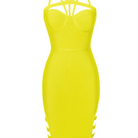 Joyce Aqua Yellow Cutout Detail Bandage Dress