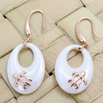 925 Silver Pink Rose Gold Hawaiian Honu Sea Turtle White Ceramic Oval Earrings
