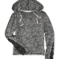 Aeropostale  Womens Crochet Sleeve Sweater Hoodie - Black