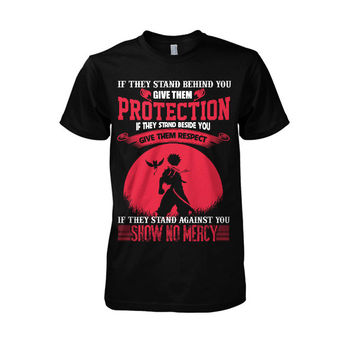 Fairy Tail-If they stand behind you give them protection Natsu version  -Men Short Sleeve T Shirt - SSID2016