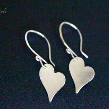 Silver Heart Earrings, Sterling silver metal earrings, Love earrings, Gifts, bridesmaid gifts, luxestyle