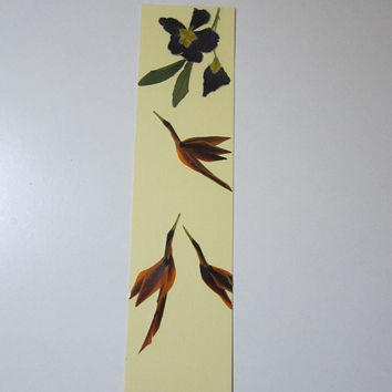 "Handmade unique bookmark ""The love triangle"" - Decorated with dried pressed flowers and herbs - Original art collage."