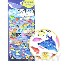 Whale Sharks Octopus Fish Turtles Shaped Sea Creatures Themed Puffy Stickers for Scrapbooking