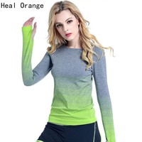 Heal Orange Women Yoga Shirts Long Sleeve Sweatshirt Quick Dry Sport Jacket For Fitness Gym Shirt Female Jogging Dry Fit Women