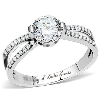 A Perfect 1.3CT Round Cut Solitaire Russian Lab Diamond Split Shank Engagement Ring