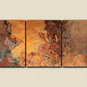 "Oversize abstract art, 40x90 triptych canvas print, in desert colors, from an original painting ""Tucson Tapestry"""