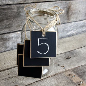 """Set of 12 - Chalkboard Tags for Mason Jars - With Twine - Place Cards - Table Markers - 2.5"""" x 2.5"""" Square - Distressed Edges"""