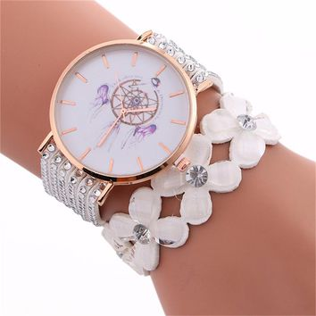 Women Fashion Wind Chimes Pattern Quartz Watch Winding Bracelet 2017 Fashion Lady Casual Watch Watches Excellent Quartz montre