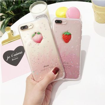 JiBan Strawberry Epoxy powder for iPhone7 7plus case mobile phone shell peach TPU protective sleeve for iphone 6 6s plus cases