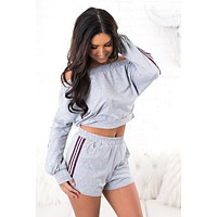 Daily Delight Striped Two Piece (Heather Grey)