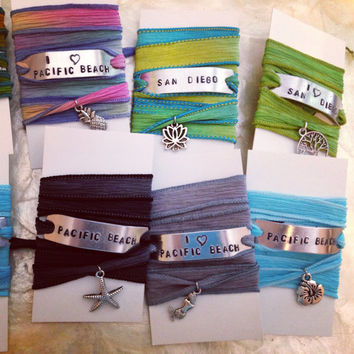 Personalized Jewelry - Silk Wrap Bracelet - Custom - Hand Stamped - Gifts for Her