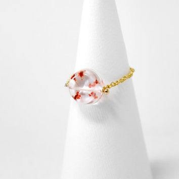 Real Flower Jewellry, Gold Ring, Circle Ring, Chain Ring, Resin, Ice Box, Freeze, Flower Ring, Little Red Flower,