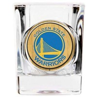 Golden State Warriors Shot Glass NBA Indent Square Drinkware GAP Clear 2 OZ