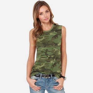 CREYHY3 Women Camouflage Tank Tops 2016 Summer New Arrival Ladies Camo Print Sleeveless T Shirt O-Neck Free Shipping