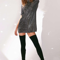 Oh My Love Sparkle Stripe Mock Neck T-Shirt Dress - Urban Outfitters
