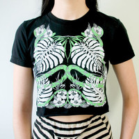 Philodendron and Green Snake Tropical Black Crop Top