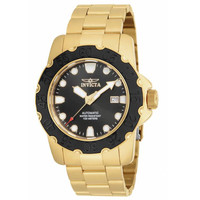 Invicta 17090 Men's Pro Diver Automatic Black Dial Gold Tone Steel Bracelet Watch