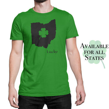 St Patricks Day Shirt - Lucky Home State Shirt - Mens green T shirt - Four Leaf Clover