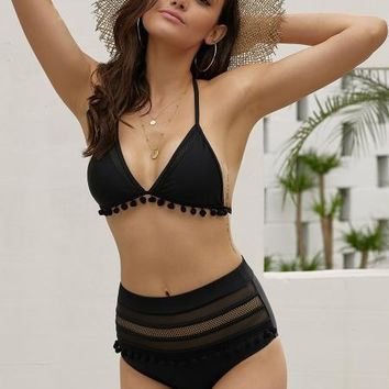 Black Pom Pom Mesh Insert High Waist Bikini Set