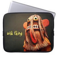 """Wild thing"" cute funny face photo laptop sleeve"