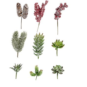 18PC Mixed Size Long Short of Assorted Winter Snowy Faux Succulent Picks,Snowy Picks