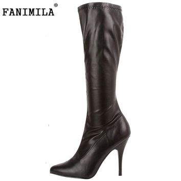 Brand New Women High Heel Shoes Woman Sexy Pointed Toe Mid-Calf Boots High Quality Heels Footwear Heeled Shoes Size 35-46 B111