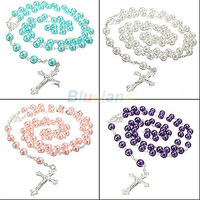 Pendant Necklace Long Rosary Chain Imitate Pearl Ball Beads Silver necklace Drop Cross necklace Multi Colors 1J79