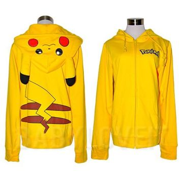 Japan Pokemon Pikachu Ears Hoody Hoodie cosplay Costume sweatshirt Halloween