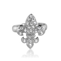 Fleur De Lis in Silvertone Adjustable Fashion Ring #r066
