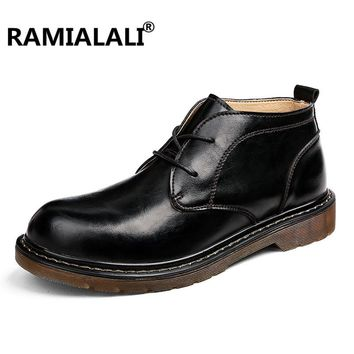 Ramialali Handmade Men Fashion Boots British Cow Leather Wing Mens Boots Genuine Leather Shoes Luxury Brand Male Red Ankle Boots