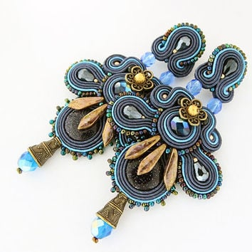 Blue statement earrings, blue chandelier earrings, soutache jewelry