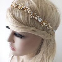 Bridal gold hair vine, crystals, pearls, wedding headpiece, bridal wreath, pearls and crystals twisted on wire,
