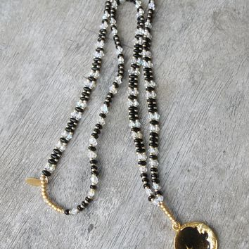 """Man in the Moon Black Glass Superduo, Gold Glass & Clear AB Swarovski Crystal Artisan Crafted 26"""" Beaded Pendant"""