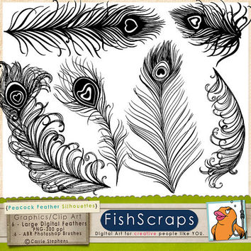 Peacock Tail Feather Silhouette Clip Art  - ABR Photoshop Brushes & PNG Stamps great for wedding invitations