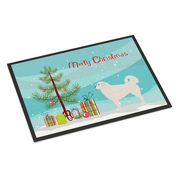 Polish Tatra Sheepdog Merry Christmas Tree Indoor or Outdoor Mat 24x36 BB2945JMAT