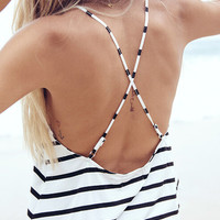 Black White Criss Cross Back Striped Cami Top